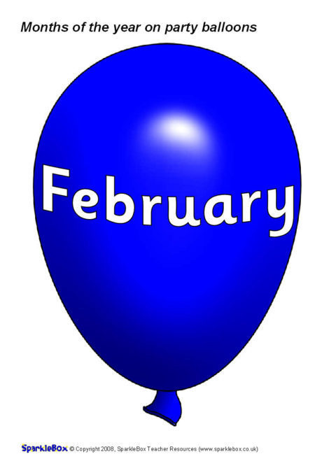 months of the year on party balloons  sb1462