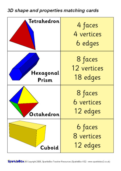 3d shapes and properties matching cards  sb6826
