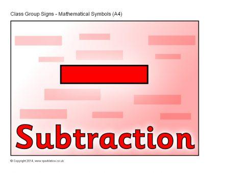 Mathematical Symbols Group Signs – A4 (SB10430) - SparkleBox