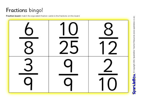 picture regarding Fraction Bingo Printable known as Comparable Fractions Bingo (SB6742) - SparkleBox