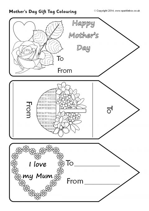 Mother's Day Gift Tag Colouring (SB10443) - SparkleBox