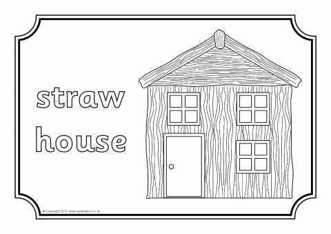 straw house coloring pages - photo#2