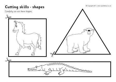 Cutting Skills Worksheets Shapes Sb4523 Sparklebox