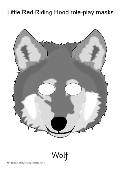 picture regarding Printable Wolf Mask Template for Kids referred to as Minimal Crimson Using Hood Job-Engage in Masks (SB3690) - SparkleBox