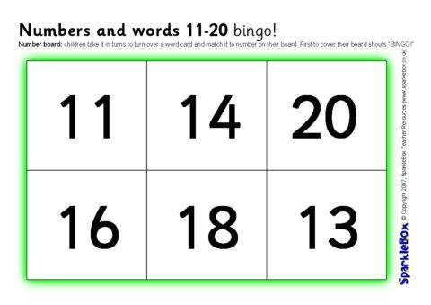 Numbers and Words 11-20 Bingo (SB857) - SparkleBox