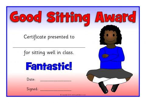 Good Sitting Award Certificates (SB10212) - SparkleBox