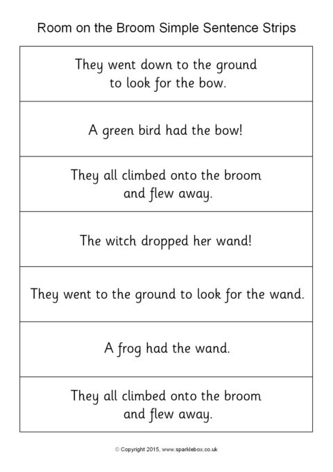 image regarding Sentence Strips Printable known as Space upon the Broom Straightforward Sentence Strips (SB11314) - SparkleBox