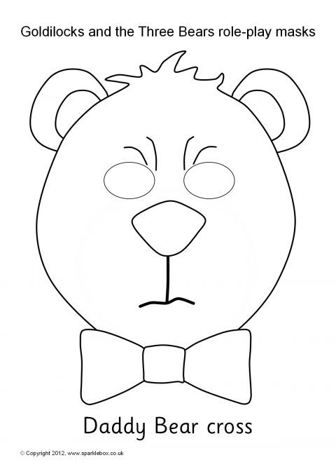 Goldilocks and the Three Bears Role-Play Masks – Black and White ...
