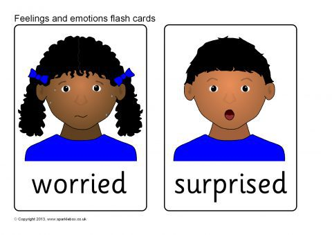image about Emotion Flashcards Printable known as Thoughts and Feelings Flash Playing cards (SB9512) - SparkleBox