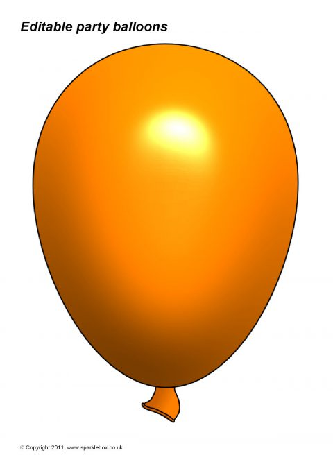 Editable Party Balloon Templates Sb3996 Sparklebox