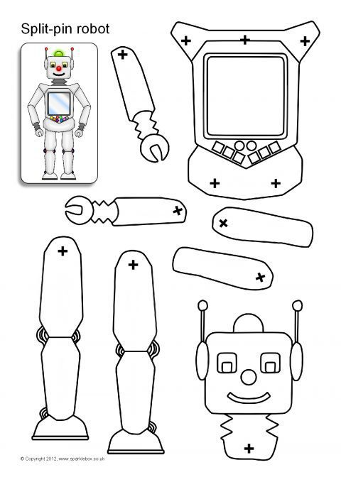 image about Robot Printable known as Break-Pin Robotic Figures (SB8960) - SparkleBox