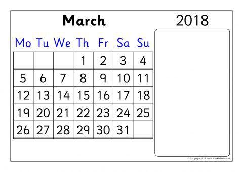 2018 Calendar – Month to View (SB6938) - SparkleBox