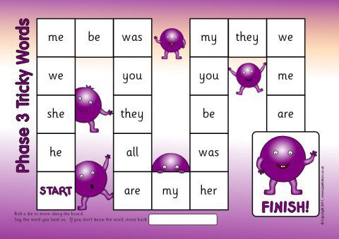 Phases 2 5 Tricky Words Board Game