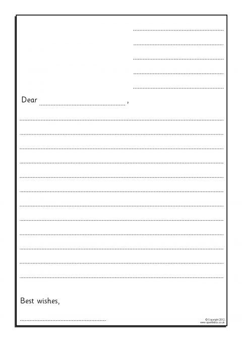 letter writing template basic letter writing frames with lines for address 23302 | 3 1671