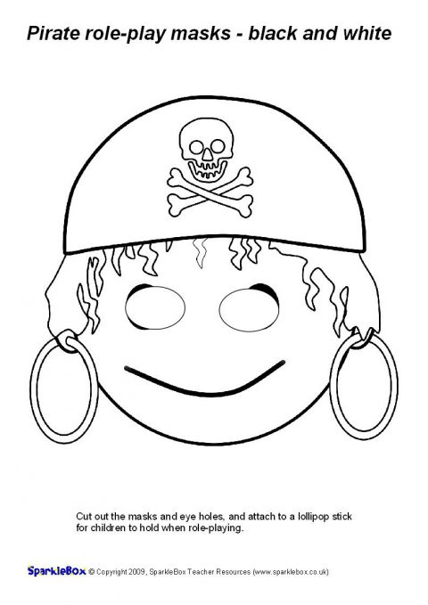 Pirate Role Play Masks Black And White Sb2239 Sparklebox