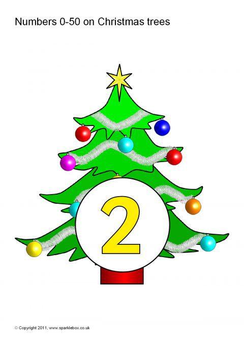 Numbers 0 50 On Christmas Trees Sb1933 Sparklebox