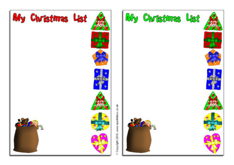 Christmas List Writing Frames