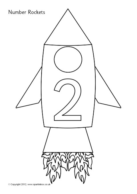 Numbers 050 on Rockets Colouring