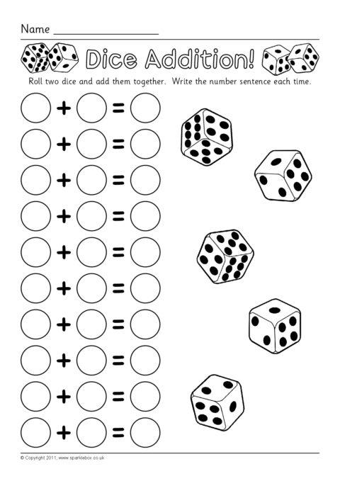 Dice Addition Worksheets (SB6050) - SparkleBox