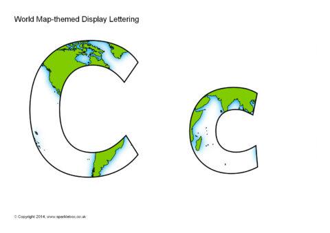 World map themed display lettering sb10941 sparklebox publicscrutiny Choice Image
