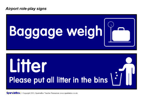 Airport Role Play Signs Sb9958 Sparklebox