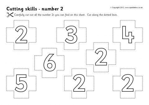 Cutting Skills Worksheets – Numbers 0-9 (SB7320) - SparkleBox