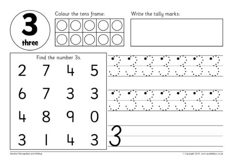 Number Recognition and Writing Worksheets (SB12354) - SparkleBox
