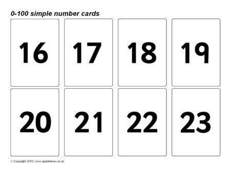 image relating to Printable Number Cards 1 100 called Straightforward 0-100 Variety Playing cards (SB128) - SparkleBox
