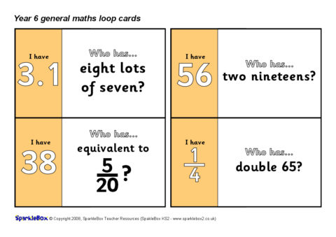 Year 6 General Maths Loop Cards (SB6630) - SparkleBox