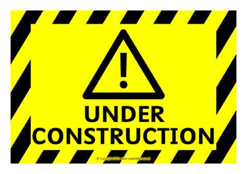 Work Progress Under Construction Warning Signs