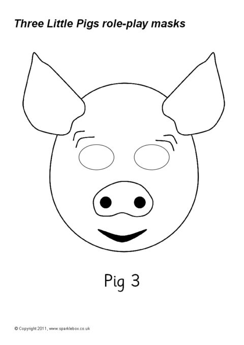 Three Little Pigs Role Play Masks Black And White Sb9663