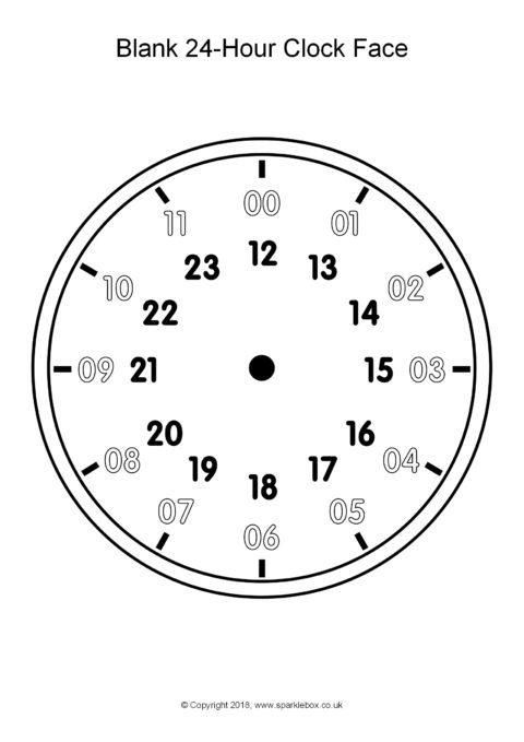 Blank 24 Hour Analogue Clocks Sb12496 Sparklebox