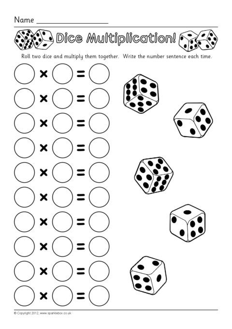 dice multiplication worksheets sb7330 sparklebox
