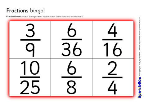 photograph relating to Fraction Bingo Printable named Similar Fractions Bingo (SB6742) - SparkleBox