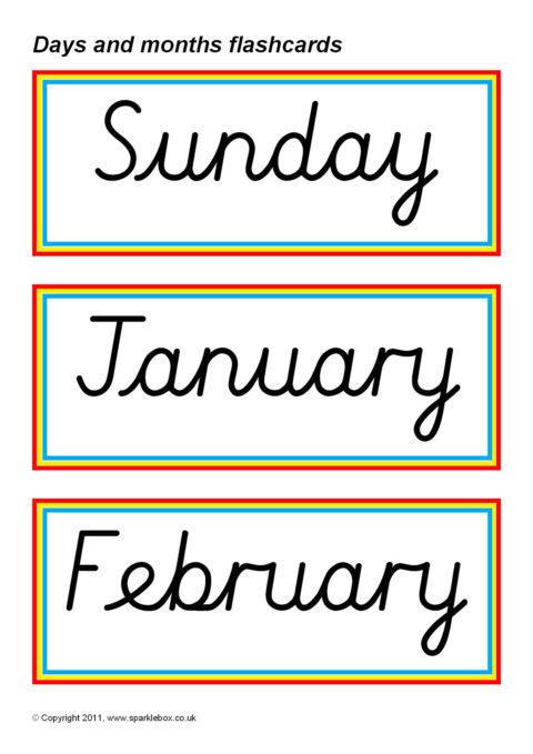 days and months flash cards  u2013 cursive