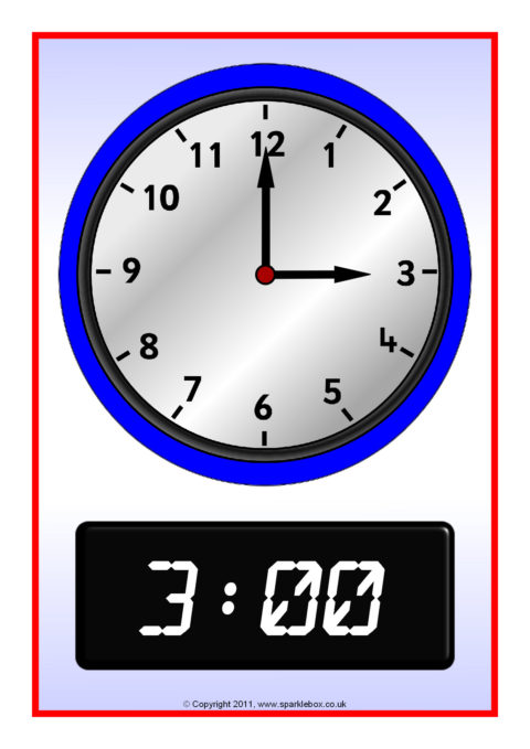 Terms Of Use >> O'clock Analogue and Digital Time Posters