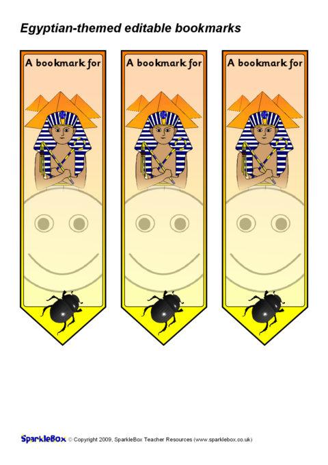 egyptian-themed editable bookmarks  sb4986