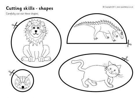 cutting skills worksheets shapes sb4523 sparklebox. Black Bedroom Furniture Sets. Home Design Ideas