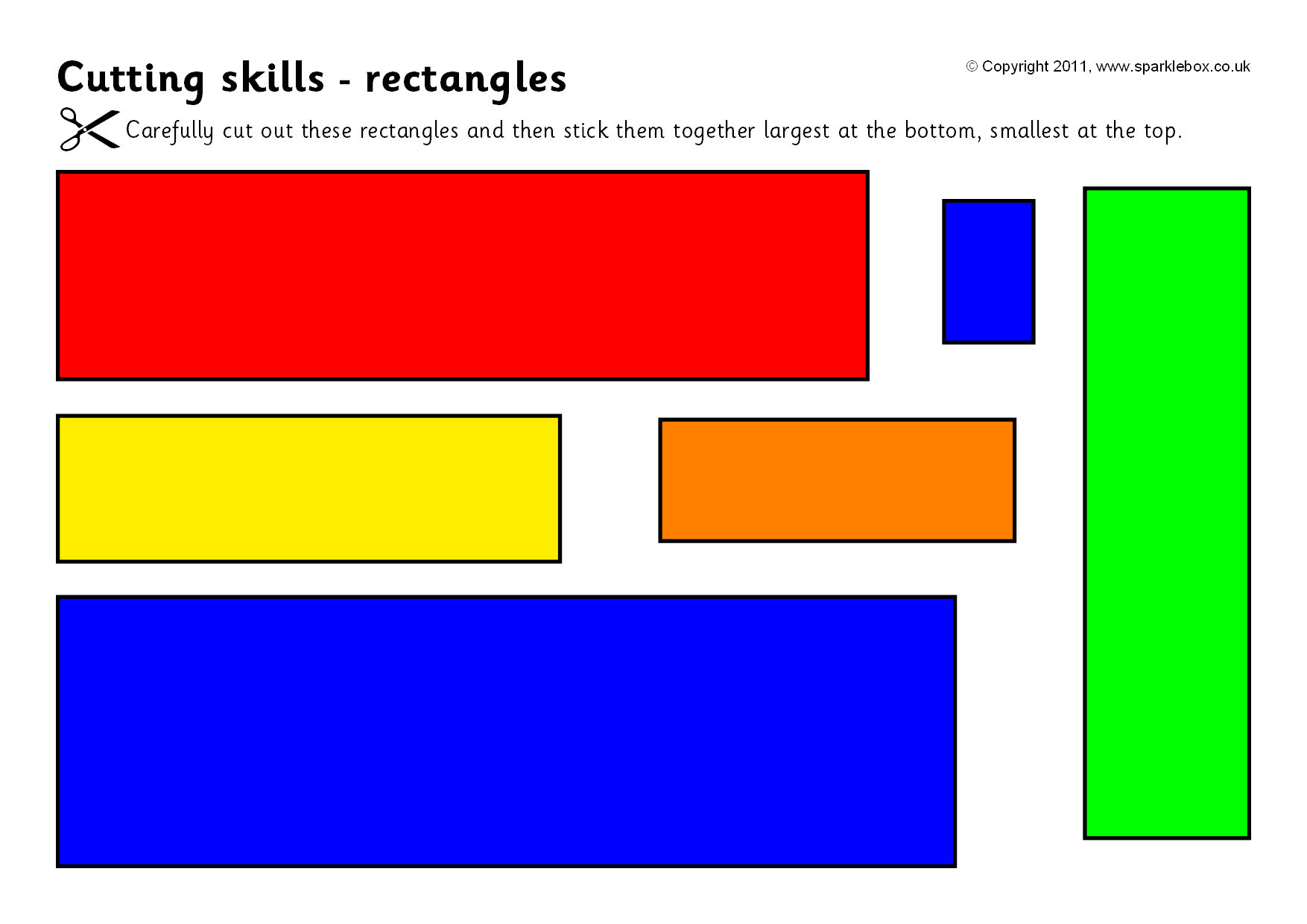 Cutting Skills Worksheets Shapes And Size Ordering Sb4910 Sparklebox [ 1240 x 1754 Pixel ]