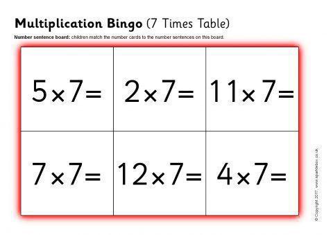 Multiplication Bingo 7 Times Table Sb12046 Sparklebox