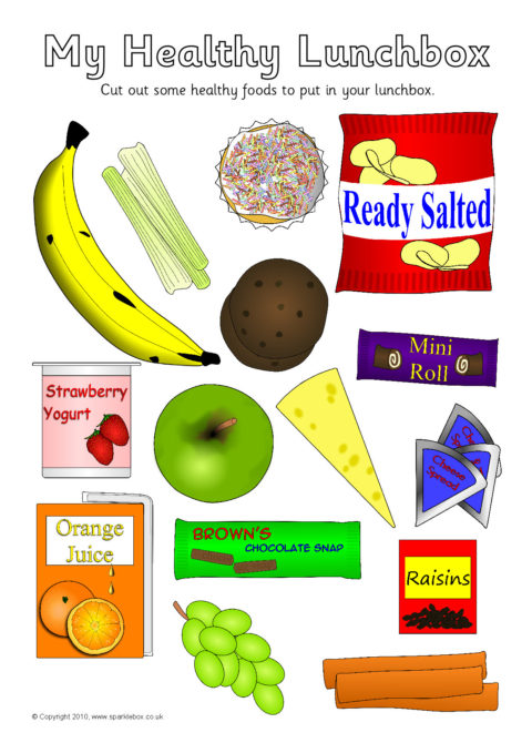 Healthy Eating Lunchbox Cut And Stick Activity Sb3294 Sparklebox