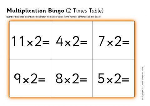 Multiplication Bingo 2 Times Table Sb12056 Sparklebox