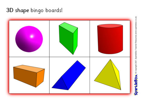 image regarding Shape Bingo Printable identify 3D Form Bingo Message boards (SB625) - SparkleBox