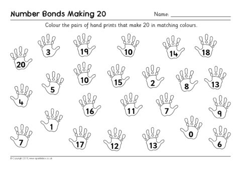 Hand Print Number Bonds Worksheets (SB9499) - SparkleBox