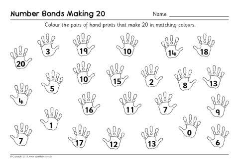 Hand Print Number Bonds Worksheets (SB9499) - SparkleBox