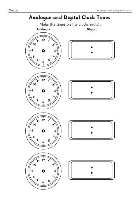 Blank Analogue and Digital Clock Times Worksheets (SB9593) - SparkleBox