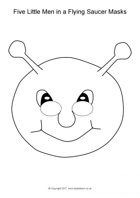 Five little men in a flying saucer role play masks for Flying saucer coloring page
