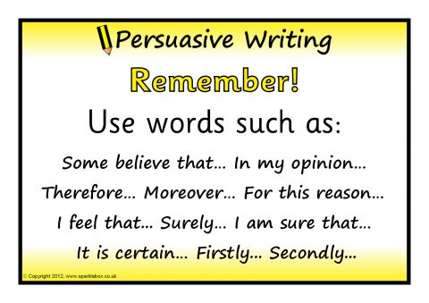 persuasive writing words In schools lots of us face the necessity of writing a persuasive essay, whether to complete a teacher's task or to advocate for rights by means of the essay (more.