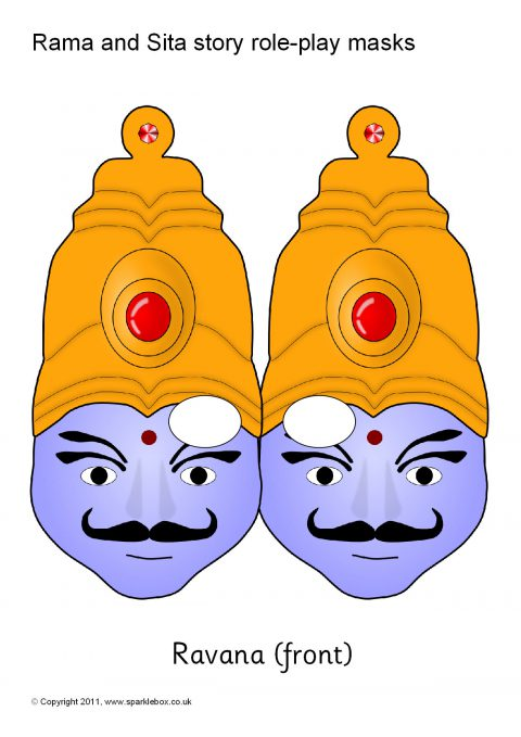 Rama and sita story role-play masks black and white (sb1851.