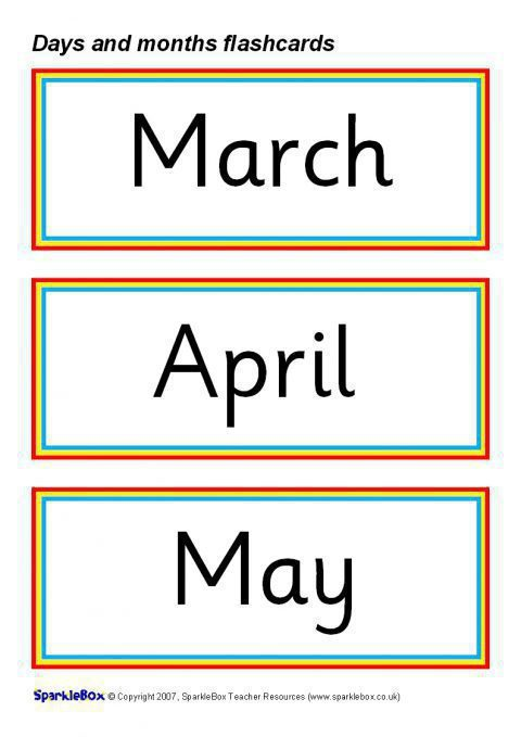 days and months flash cards